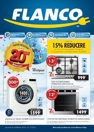 Flanco catalog - pana la 15 % reducere la incorporabilele Whirlpool 09.12.2014 - 27.12.2014