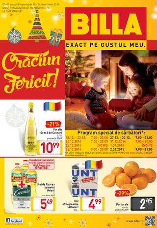 Billa - CRACIUN FERICIT - catalog 18.12.2014 - 24.12.2014