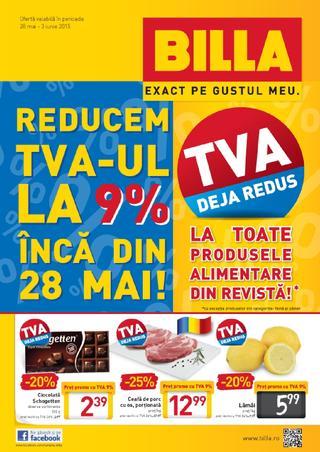 Billa reduce TVA-ul la 9 % inca din 28 mai 2015