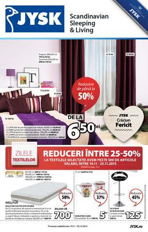JYSK catalog ZILELE Textilelor Reduceri -20-50% - 19 Noiembrie - 02 Decembrie 2015