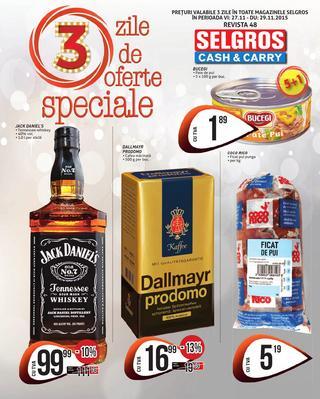 Selgros catalog 3 Zile de oferte speciale  - 27-29 Noiembrie 2015