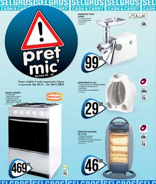 Selgros catalog Pret Mic Non-Food  - 29 Octombrie - 29 Noiembrie 2015